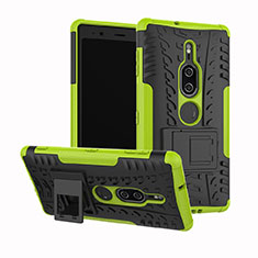 Coque Contour Silicone et Plastique Housse Etui Mat avec Support pour Sony Xperia XZ2 Premium Vert