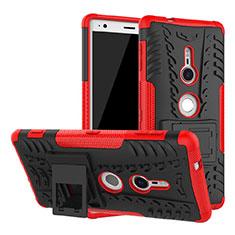 Coque Contour Silicone et Plastique Housse Etui Mat avec Support pour Sony Xperia XZ2 Rouge
