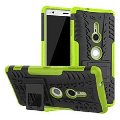 Coque Contour Silicone et Plastique Housse Etui Mat avec Support pour Sony Xperia XZ2 Vert