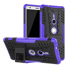 Coque Contour Silicone et Plastique Housse Etui Mat avec Support pour Sony Xperia XZ2 Violet