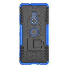 Coque Contour Silicone et Plastique Housse Etui Mat avec Support pour Sony Xperia XZ3 Bleu