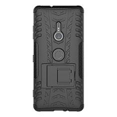 Coque Contour Silicone et Plastique Housse Etui Mat avec Support pour Sony Xperia XZ3 Noir
