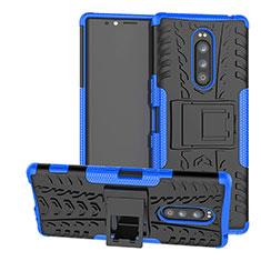 Coque Contour Silicone et Plastique Housse Etui Mat avec Support pour Sony Xperia XZ4 Bleu