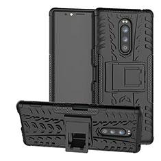 Coque Contour Silicone et Plastique Housse Etui Mat avec Support pour Sony Xperia XZ4 Noir