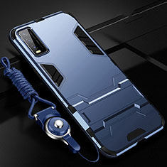 Coque Contour Silicone et Plastique Housse Etui Mat avec Support pour Vivo Y11s Bleu