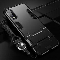 Coque Contour Silicone et Plastique Housse Etui Mat avec Support pour Vivo Y12s Noir