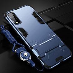 Coque Contour Silicone et Plastique Housse Etui Mat avec Support pour Vivo Y20s Bleu