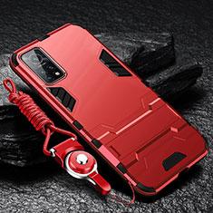 Coque Contour Silicone et Plastique Housse Etui Mat avec Support pour Xiaomi Mi 10T Pro 5G Rouge