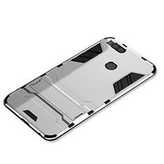 Coque Contour Silicone et Plastique Housse Etui Mat avec Support pour Xiaomi Mi 5X Argent