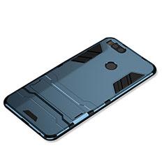Coque Contour Silicone et Plastique Housse Etui Mat avec Support pour Xiaomi Mi 5X Bleu
