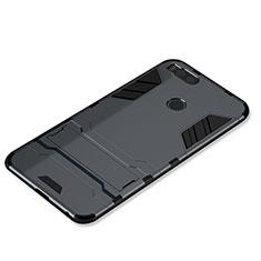 Coque Contour Silicone et Plastique Housse Etui Mat avec Support pour Xiaomi Mi 5X Gris