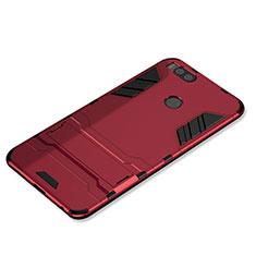 Coque Contour Silicone et Plastique Housse Etui Mat avec Support pour Xiaomi Mi 5X Rouge