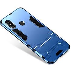 Coque Contour Silicone et Plastique Housse Etui Mat avec Support pour Xiaomi Mi 8 Bleu