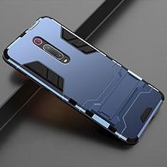 Coque Contour Silicone et Plastique Housse Etui Mat avec Support pour Xiaomi Mi 9T Pro Bleu