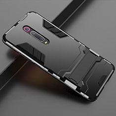 Coque Contour Silicone et Plastique Housse Etui Mat avec Support pour Xiaomi Mi 9T Pro Noir