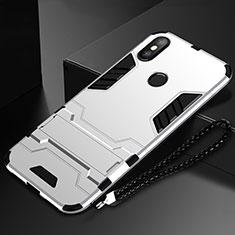 Coque Contour Silicone et Plastique Housse Etui Mat avec Support pour Xiaomi Mi Mix 3 Argent