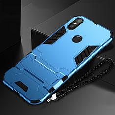Coque Contour Silicone et Plastique Housse Etui Mat avec Support pour Xiaomi Mi Mix 3 Bleu