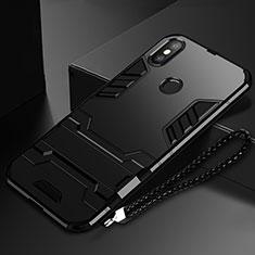 Coque Contour Silicone et Plastique Housse Etui Mat avec Support pour Xiaomi Mi Mix 3 Noir