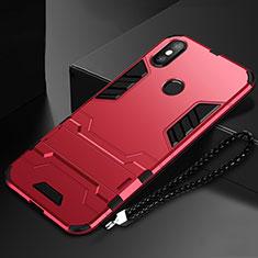 Coque Contour Silicone et Plastique Housse Etui Mat avec Support pour Xiaomi Mi Mix 3 Rouge