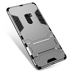 Coque Contour Silicone et Plastique Housse Etui Mat avec Support pour Xiaomi Mi Mix Argent