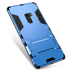 Coque Contour Silicone et Plastique Housse Etui Mat avec Support pour Xiaomi Mi Mix Bleu