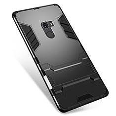 Coque Contour Silicone et Plastique Housse Etui Mat avec Support pour Xiaomi Mi Mix Noir