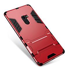Coque Contour Silicone et Plastique Housse Etui Mat avec Support pour Xiaomi Mi Mix Rouge