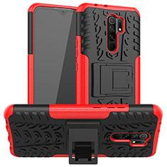 Coque Contour Silicone et Plastique Housse Etui Mat avec Support pour Xiaomi Redmi 9 Prime India Rouge