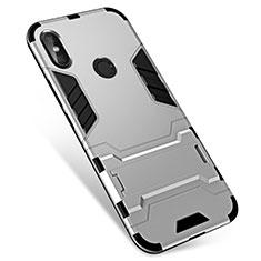 Coque Contour Silicone et Plastique Housse Etui Mat avec Support pour Xiaomi Redmi Note 5 AI Dual Camera Argent