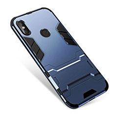 Coque Contour Silicone et Plastique Housse Etui Mat avec Support pour Xiaomi Redmi Note 5 AI Dual Camera Bleu