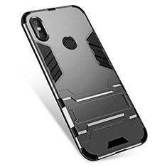 Coque Contour Silicone et Plastique Housse Etui Mat avec Support pour Xiaomi Redmi Note 5 AI Dual Camera Gris