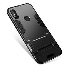 Coque Contour Silicone et Plastique Housse Etui Mat avec Support pour Xiaomi Redmi Note 5 AI Dual Camera Noir