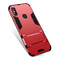 Coque Contour Silicone et Plastique Housse Etui Mat avec Support pour Xiaomi Redmi Note 5 Pro Rouge