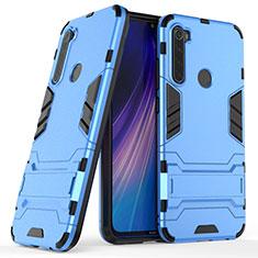 Coque Contour Silicone et Plastique Housse Etui Mat avec Support pour Xiaomi Redmi Note 8 Bleu