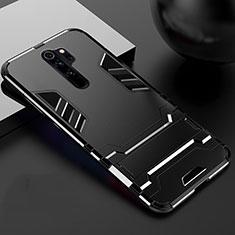 Coque Contour Silicone et Plastique Housse Etui Mat avec Support pour Xiaomi Redmi Note 8 Pro Noir