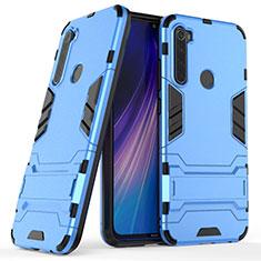 Coque Contour Silicone et Plastique Housse Etui Mat avec Support pour Xiaomi Redmi Note 8T Bleu