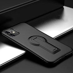 Coque Contour Silicone et Plastique Housse Etui Mat avec Support R01 pour Apple iPhone 11 Noir