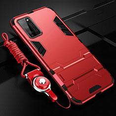 Coque Contour Silicone et Plastique Housse Etui Mat avec Support R01 pour Huawei Honor 30 Lite 5G Rouge