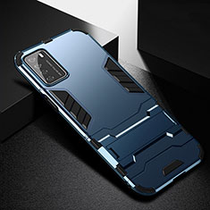 Coque Contour Silicone et Plastique Housse Etui Mat avec Support R01 pour Huawei Honor Play4 5G Bleu