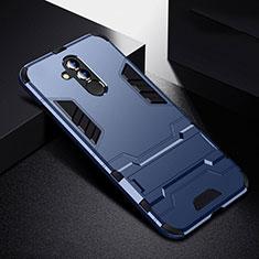 Coque Contour Silicone et Plastique Housse Etui Mat avec Support R01 pour Huawei Mate 20 Lite Bleu