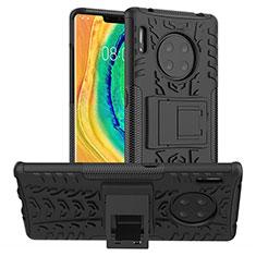 Coque Contour Silicone et Plastique Housse Etui Mat avec Support R01 pour Huawei Mate 30 Pro Noir