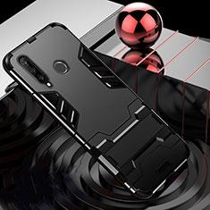 Coque Contour Silicone et Plastique Housse Etui Mat avec Support R01 pour Huawei P30 Lite New Edition Noir