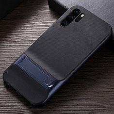 Coque Contour Silicone et Plastique Housse Etui Mat avec Support R01 pour Huawei P30 Pro Bleu