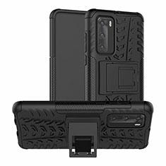 Coque Contour Silicone et Plastique Housse Etui Mat avec Support R01 pour Huawei P40 Noir