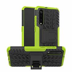 Coque Contour Silicone et Plastique Housse Etui Mat avec Support R01 pour Samsung Galaxy A70S Vert