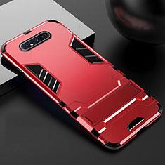 Coque Contour Silicone et Plastique Housse Etui Mat avec Support R01 pour Samsung Galaxy A80 Rouge