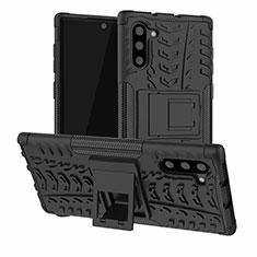 Coque Contour Silicone et Plastique Housse Etui Mat avec Support R01 pour Samsung Galaxy Note 10 5G Noir