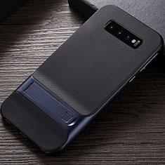 Coque Contour Silicone et Plastique Housse Etui Mat avec Support R01 pour Samsung Galaxy S10 Bleu