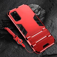Coque Contour Silicone et Plastique Housse Etui Mat avec Support R01 pour Samsung Galaxy S20 Plus Rouge