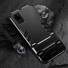 Coque Contour Silicone et Plastique Housse Etui Mat avec Support R01 pour Samsung Galaxy S20 Ultra 5G Noir